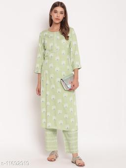 Stylum Women's Floral Print Rayon Straight Kurta Pant Set (Mint Green)