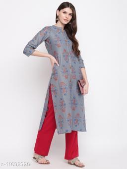 Stylum Women's Floral Print Cotton Straight Kurta Pant Set(Grey)