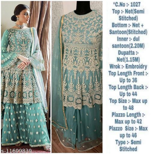 Miss Ethnik Women's Sky Blue Net Semi Stitched Top With Stitched Net Bottom and Net Dupatta Embroidered Flared Top Dress Material (Pakistani Suits) (1027-Sky Blue)