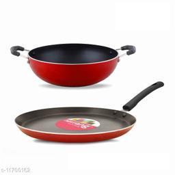 Navrang Nonstick Aluminium 2 PC Cookware Set ,Tawa 260 + Kadai 200,Red NON-INDUCTION