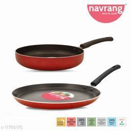 Navrang Nonstick Alumnium2 PC Cookware Set ,Tawa 275 + Fry Pan 230,Red NON-INDUCTION