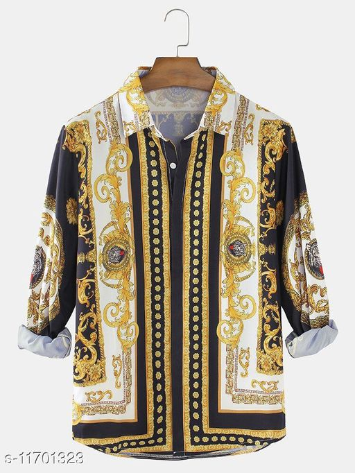 Baroque Print Patch Casual Lapel Shirts (Stiched Size-L)