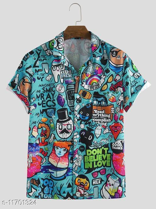 Cartoon Graffiti Printed Turn Down Collar Shirts (Stiched Size-L)