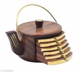 Wooden Handcarved Brass Plated Kettle Coaster Set