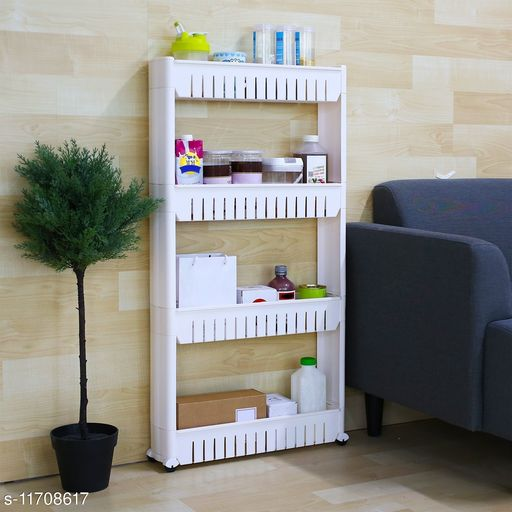 4 Layer Slim Storage Organizer Rack with Wheels for Kitchen, Bedroom, Bathroom