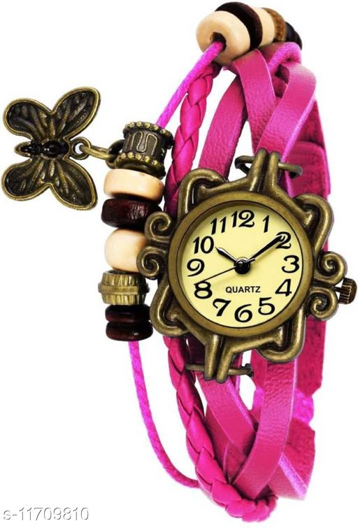 Miss Perfect Pink Vintage Haging Lucky Charm Bracelet Analog Watch
