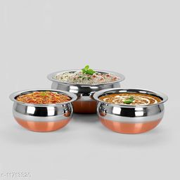 Stainless Steel Copper Bottom Handi Cookware/Serveware/Handi/Pot/Cook & Serve - 3 Pcs Set Without lid