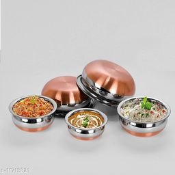 5 Piece set Stainless Steel Copper Bottom Handi Set with Copper Bottom Sauce & Milk Pan Tea & Coffee Pot tapeli patila