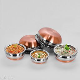 5 Piece Bowl Set Stainless Steel Copper Bottom Kitchen Serving Rice and Biryani Handi induction bottom