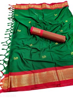 MH Traditional Paithani Silk Sarees With Contrast Blouse Piece (Green & Red)