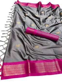 MH Traditional Paithani Silk Sarees With Contrast Blouse Piece (Silver Grey & Pink)