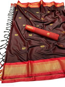 MH Traditional Paithani Silk Sarees With Contrast Blouse Piece (Dark Brown & Red)