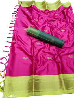 MH Traditional Paithani Silk Sarees With Contrast Blouse Piece (Pink & Neon)