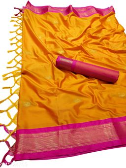 MH Traditional Paithani Silk Sarees With Contrast Blouse Piece (Mango & Pink)