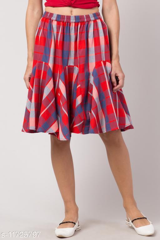 Women Checkered Skirt Cotton in Red Color Ruffle Mini Skirt