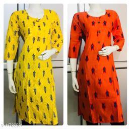 Women's Printed Yellow Cotton Kurti