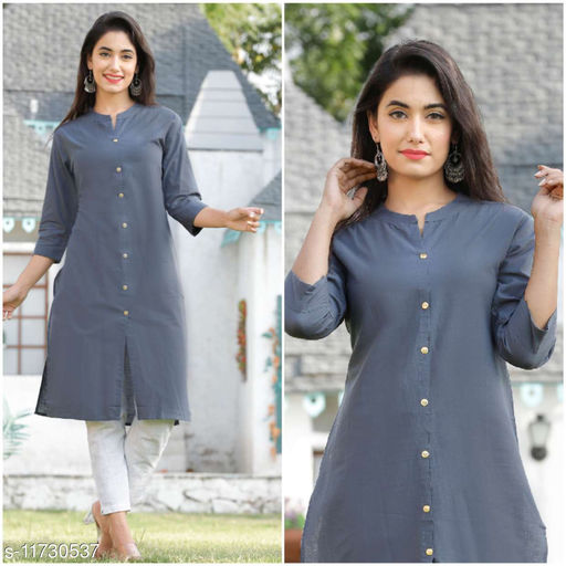 Women's Solid Cotton Cambric Kurti