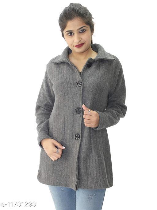 Womens Woollen Buttoned Coat For Winters