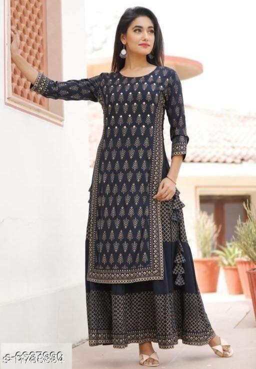 Women's  Black Rayon Kurta Set with Skirt