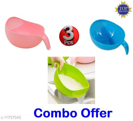 Rice Fruits Vegetable Noodles Pasta Washing Bowl and Strainer for Storing and Straining (Pink, Green, Blue Colour)