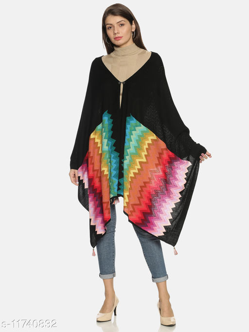 Rossomilano Women's Self Deisgn Woolen Knitted Intarsia Shawl