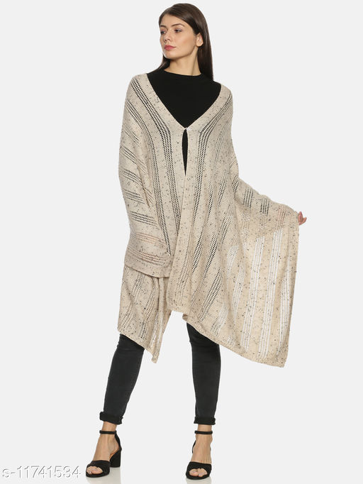 Rossomilano Women's Self Deisgn Woolen Knitted Self design Shawl