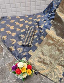 Laheja   Woven design  Synthetic  Saree With Blouse Piece (Grey)
