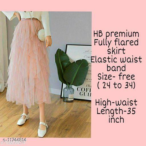 High-Buy mesh net full flare high waist skirt - strechable waist from 24 to 34- pink