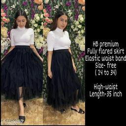 High-Buy mesh net full flare high waist skirt - strechable waist from 24 to 34- black
