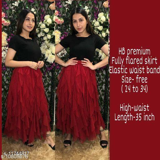 High-Buy mesh net full flare high waist skirt - strechable waist from 24 to 34- red