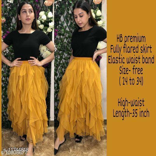 High-Buy mesh net full flare high waist skirt - strechable waist from 24 to 34- mustard