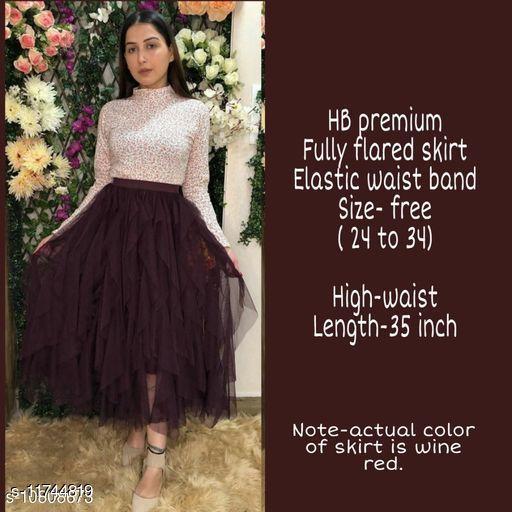 High-Buy mesh net full flare high waist skirt - strechable waist from 24 to 34- purple
