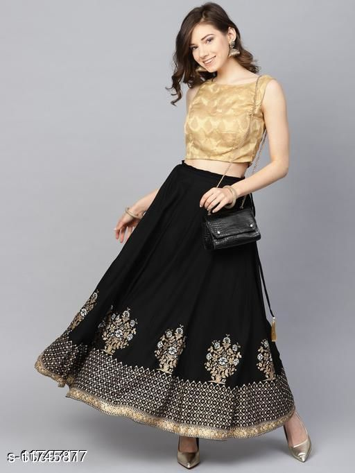 Attractive Gold Printed Rayon Skirt For Girls