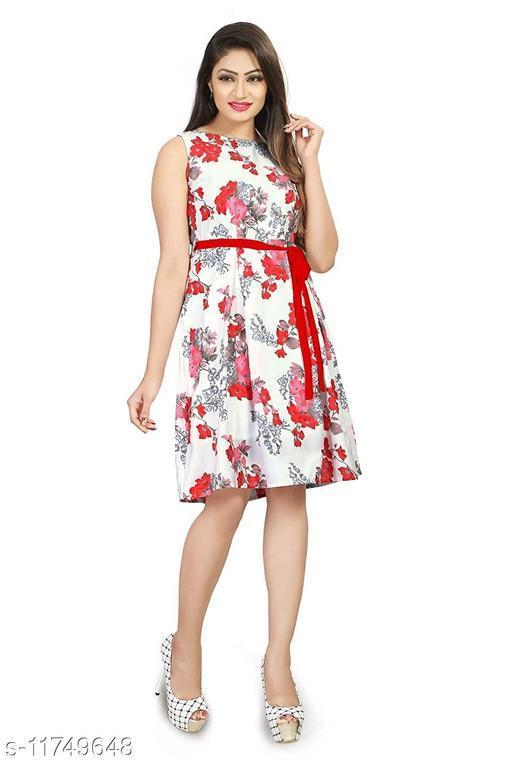 Women's Printed White Crepe Dresses