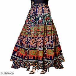 Women Cotton Casual Multicolor Long Wrap Around Skirt