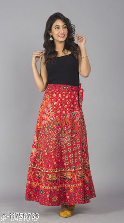 Jaipuri Print Cotton Red Ethnic Wrap Around Skirt For Women/ Grils