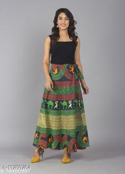 Jaipuri Print Cotton Green Ethnic Wrap Around Skirt For Women/ Grils