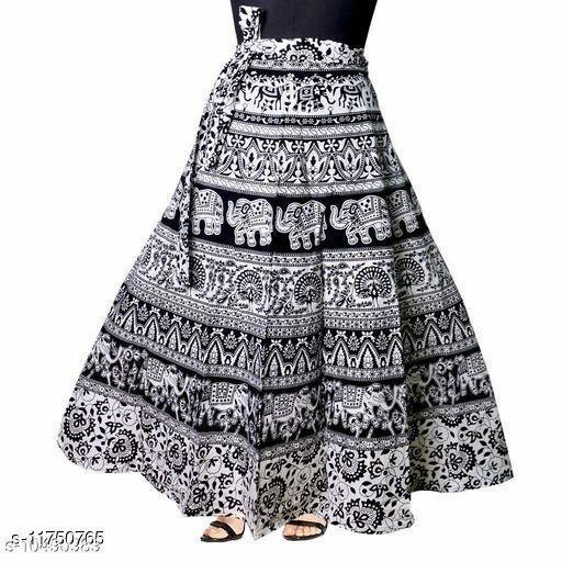 Jaipuri Print Cotton Black Ethnic Wrap Around Skirt For Women/ Grils