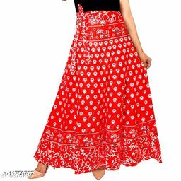 Women Cotton Casual Red Long Wrap Around Skirt