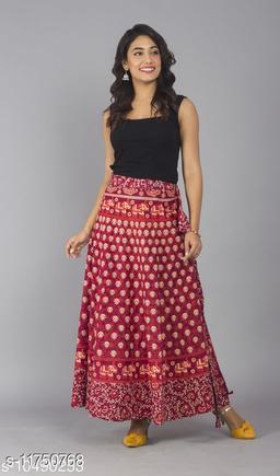 Jaipuri Print Red Cotton Wrap Around Skirt for Women/ Girls