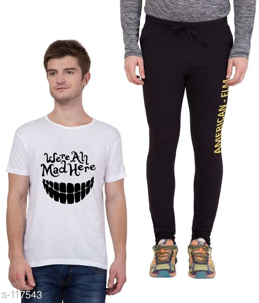 Track Pants Combo of Cotton Men's T-Shirt & Track Pant  *Fabric* T-Shirt - Cotton, Track Pant - Cotton   *Sleeves* Half Sleeves Are Included   *Size* T-Shirt - S - 36 in, M - 38 in, L - 40 in, XL - 42 in  Track Pant - S - 26 in, M - 28 in, L - 30 in, XL - 32 in   *Length* T-Shirt - Up to 28 in, Track Pant - Up to 43 in   *Type* Stitched   *Description* It Has 1 Piece of Men's T-Shirt & 1 Piece of Men's Track Pant   *Work* Printed  *Sizes Available* S, M, L, XL *   Catalog Rating: ★4.5 (4)  Catalog Name: Men's Cotton Printed Tracksuits CatalogID_11572 C69-SC1214 Code: 185-117543-