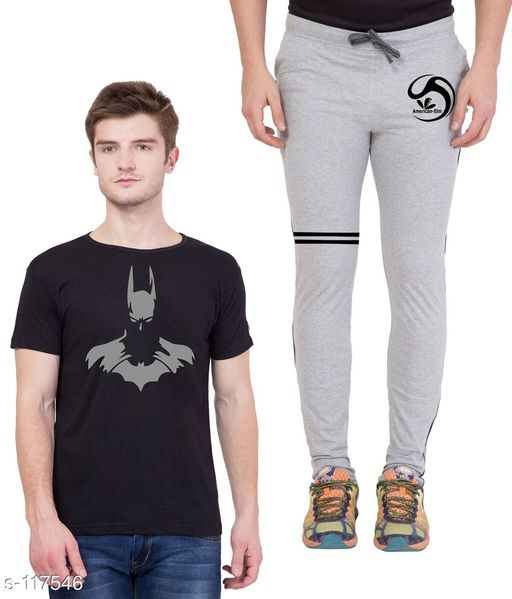 Track Pants Combo of Cotton Men's T-Shirt & Track Pant  *Fabric* T-Shirt - Cotton, Track Pant - Cotton   *Sleeves* Half Sleeves Are Included   *Size* T-Shirt - S - 36 in, M - 38 in, L - 40 in, XL - 42 in  Track Pant - S - 26 in, M - 28 in, L - 30 in, XL - 32 in   *Length* T-Shirt - Up to 28 in, Track Pant - Up to 43 in   *Type* Stitched   *Description* It Has 1 Piece of Men's T-Shirt & 1 Piece of Men's Track Pant   *Work* Printed  *Sizes Available* S, M, L, XL *   Catalog Rating: ★4.5 (4)  Catalog Name: Men's Cotton Printed Tracksuits CatalogID_11572 C69-SC1214 Code: 185-117546-