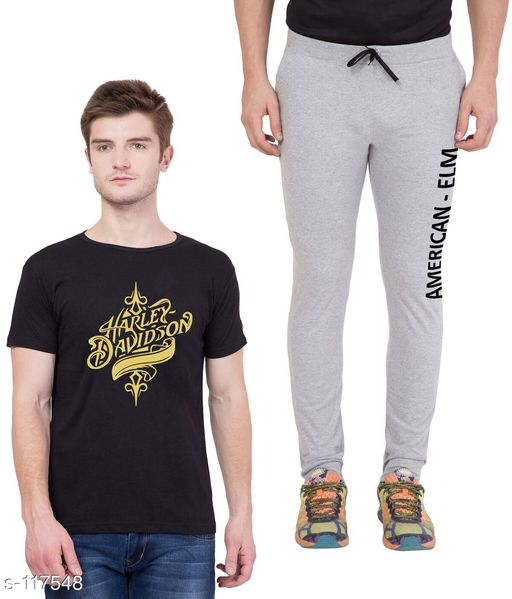 Track Pants Combo of Cotton Men's T-Shirt & Track Pant  *Fabric* T-Shirt - Cotton, Track Pant - Cotton   *Sleeves* Half Sleeves Are Included   *Size* T-Shirt - S - 36 in, M - 38 in, L - 40 in, XL - 42 in  Track Pant - S - 26 in, M - 28 in, L - 30 in, XL - 32 in   *Length* T-Shirt - Up to 28 in, Track Pant - Up to 43 in   *Type* Stitched   *Description* It Has 1 Piece of Men's T-Shirt & 1 Piece of Men's Track Pant   *Work* Printed  *Sizes Available* S, M, L, XL *   Catalog Rating: ★4.5 (4)  Catalog Name: Men's Cotton Printed Tracksuits CatalogID_11572 C69-SC1214 Code: 185-117548-
