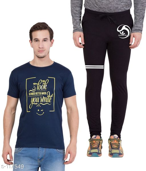 Track Pants Combo of Cotton Men's T-Shirt & Track Pant  *Fabric* T-Shirt - Cotton, Track Pant - Cotton   *Sleeves* Half Sleeves Are Included   *Size* T-Shirt - S - 36 in, M - 38 in, L - 40 in, XL - 42 in  Track Pant - S - 26 in, M - 28 in, L - 30 in, XL - 32 in   *Length* T-Shirt - Up to 28 in, Track Pant - Up to 43 in   *Type* Stitched   *Description* It Has 1 Piece of Men's T-Shirt & 1 Piece of Men's Track Pant   *Work* Printed  *Sizes Available* S, M, L, XL *   Catalog Rating: ★4.5 (4)  Catalog Name: Men's Cotton Printed Tracksuits CatalogID_11572 C69-SC1214 Code: 185-117549-