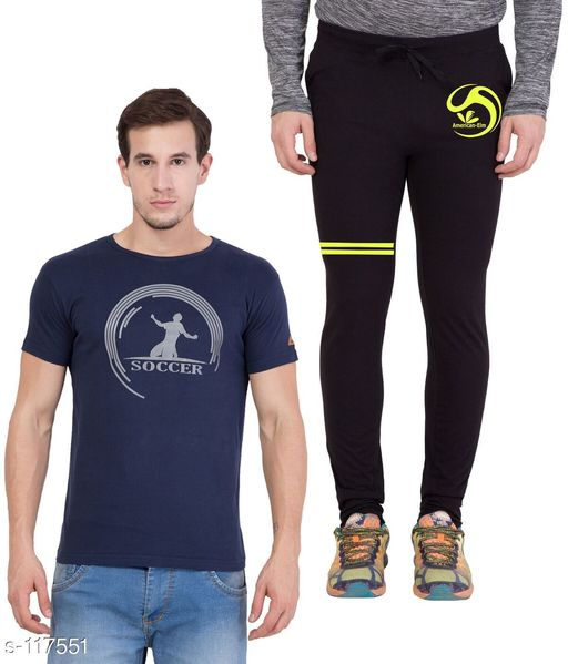 Track Pants Combo of Cotton Men's T-Shirt & Track Pant  *Fabric* T-Shirt - Cotton, Track Pant - Cotton   *Sleeves* Half Sleeves Are Included   *Size* T-Shirt - S - 36 in, M - 38 in, L - 40 in, XL - 42 in  Track Pant - S - 26 in, M - 28 in, L - 30 in, XL - 32 in   *Length* T-Shirt - Up to 28 in, Track Pant - Up to 43 in   *Type* Stitched   *Description* It Has 1 Piece of Men's T-Shirt & 1 Piece of Men's Track Pant   *Work* Printed  *Sizes Available* S, M, L, XL *   Catalog Rating: ★4.5 (4)  Catalog Name: Men's Cotton Printed Tracksuits CatalogID_11572 C69-SC1214 Code: 185-117551-