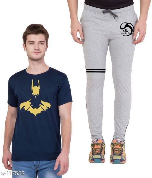 Track Pants Combo of Cotton Men's T-Shirt & Track Pant  *Fabric* T-Shirt - Cotton, Track Pant - Cotton   *Sleeves* Half Sleeves Are Included   *Size* T-Shirt - S - 36 in, M - 38 in, L - 40 in, XL - 42 in  Track Pant - S - 26 in, M - 28 in, L - 30 in, XL - 32 in   *Length* T-Shirt - Up to 28 in, Track Pant - Up to 43 in   *Type* Stitched   *Description* It Has 1 Piece of Men's T-Shirt & 1 Piece of Men's Track Pant   *Work* Printed  *Sizes Available* S, M, L, XL *   Catalog Rating: ★4.5 (4)  Catalog Name: Men's Cotton Printed Tracksuits CatalogID_11572 C69-SC1214 Code: 185-117552-