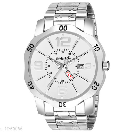 Skylark Sky-586 Round Silver Dial Water Resistant Silver Color Stainless Steel Day & Date Function Watch for Men/Boys Analog Watch - For Men