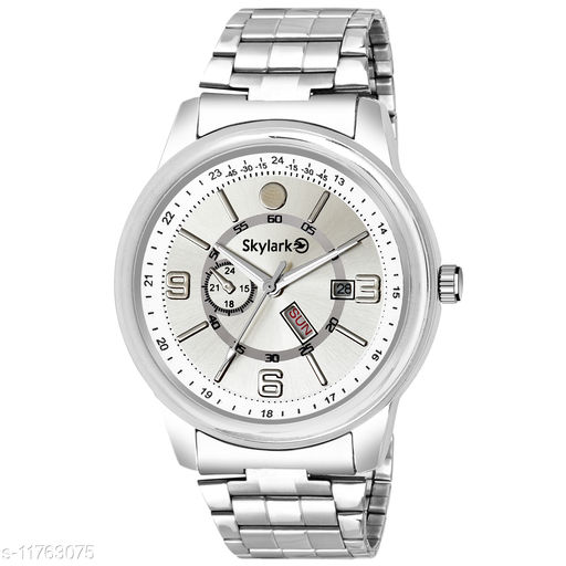 Skylark Sky-587 Round Silver Dial Water Resistant Silver Color Stainless Steel Day & Date Function Watch for Men/Boys Analog Watch - For Men