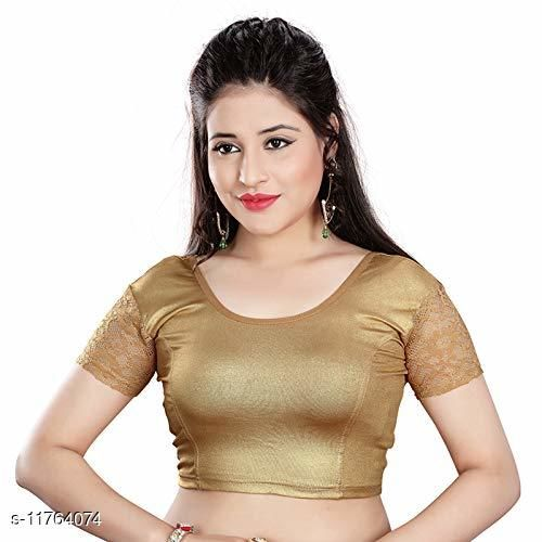 Golden blouse ready made stretchable for saree