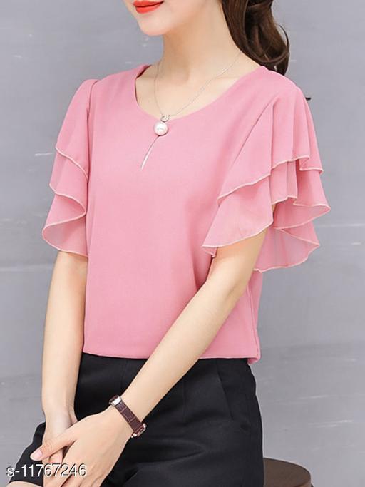 Women Pink Ruffle Sleeve Neck Button Top